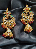 Premium Quality Kundan Enamelled Moti Pearl Green Maroon Golden Long Earrings