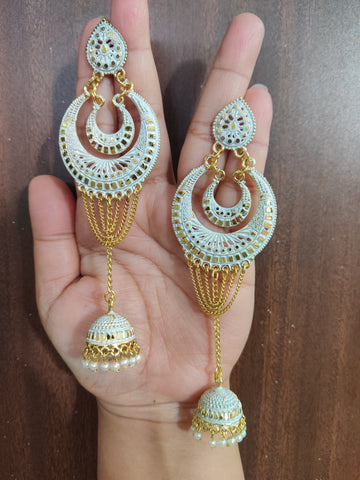 Ethnic Coloured Golden Chand Jhalar Moti Jhumka