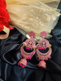 Royal Ethnic Antique Golden Hand Painted Partywear Earrings Design3
