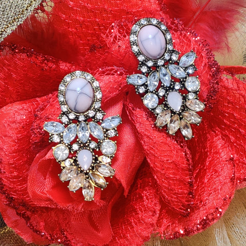 High Quality AD Pink White Brown Stone Stud Earrings