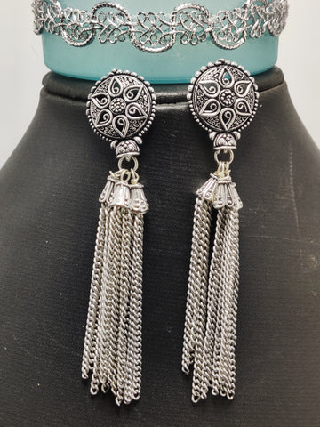 Oxidized Silver Brass Chain Jhumka 0008