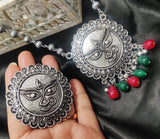 Durga Maa Oxidised Silver Necklace with Ring Article 1300.100