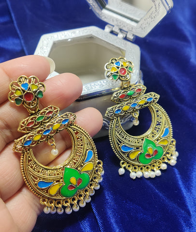 Antique Golden Meenakari Jhumka 26321
