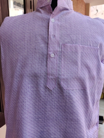 Self Design Cotton Linen Blend Straight Kurta - Light Purple
