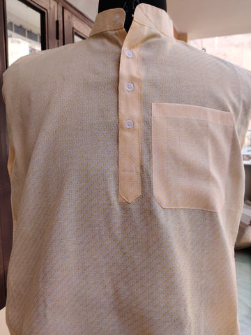 Self Design Cotton Linen Blend Straight Kurta - Light Orange