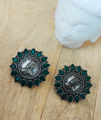 King Green Stone Premium Quality Antique Silver Stud Earrings 9729