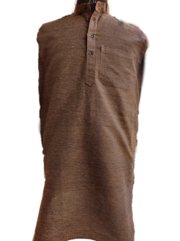 Khadi Cotton Kurta (Dark Shade Horizontal Stripes) - Coffee Colour