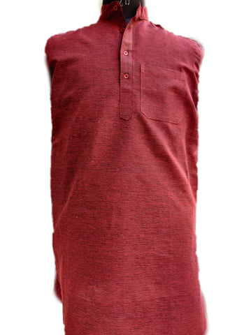 Khadi Cotton Kurta (Dark Shade Horizontal Stripes) - Maroon