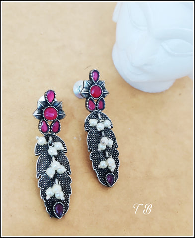 Premium Quality Antique Silver Ruby 3 layer beads Earrings 9459