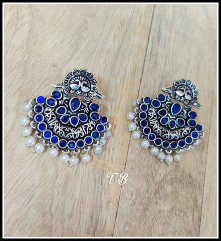 Premium Quality Oxidised Silver Royal Blue Stone Pearl Layer Earrings 91009
