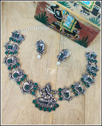 Ganesha A Premium Quality Oxidised Silver Green Stone Necklace Set 95409