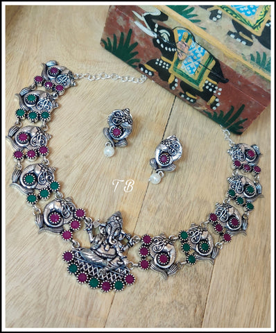 Ganesha A Premium Quality Oxidised Silver Ruby Green Stone Necklace Set 95409