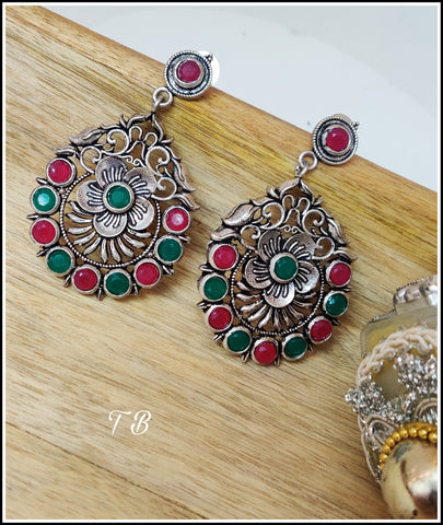 Premium Quality Oxidised Silver Carved Multi Stone Earrings 91149
