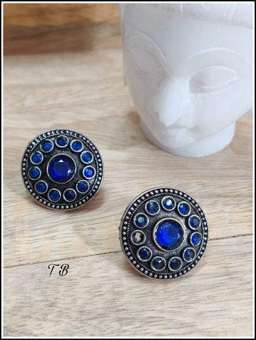 Blue Round 12 Stone Premium Quality Antique Silver Big Stud Earrings 9689