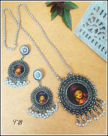 Maa Durga Premium Quality Oxidised Silver Moti Necklace + Earrings