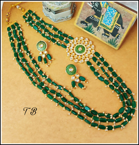 Kundan Enamelled Beads Layer Designer Necklace - Dark Green