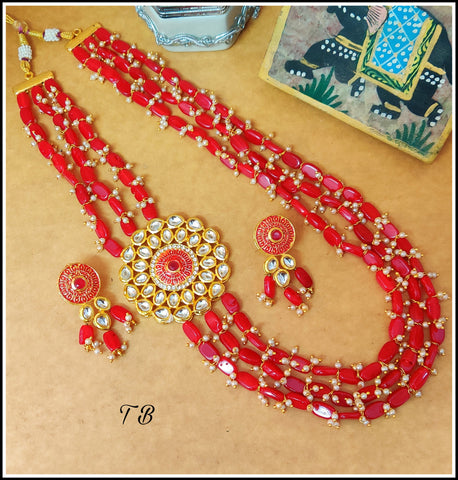 Kundan Enamelled Beads Layer Designer Necklace - Red