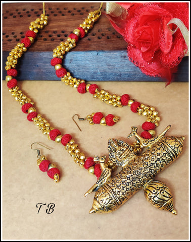 Peacock Laxmi Red Thread Antique Golden Ghungru Necklace