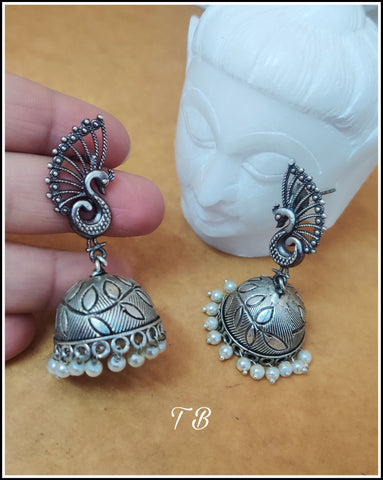 Peacock Leaf Premium Quality German Silver Jhumka 9809