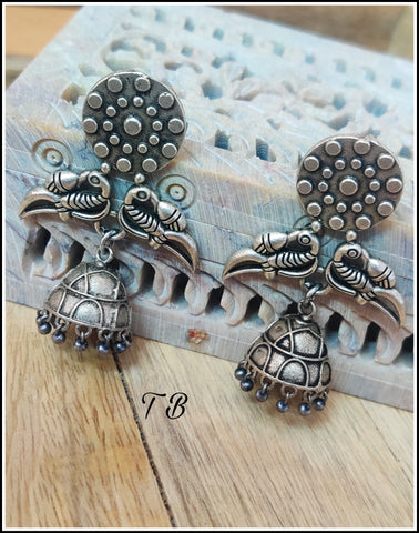 Two Peacock Premium German Silver Jhumka 9849