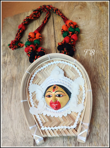 Maa Kaali Handmade Statue Cane Red Orange thread Necklace