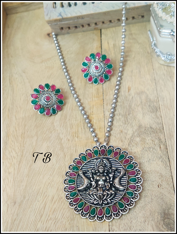 Maa Laxmi Premium Quality Oxidised Silver Ruby Green Stone Necklace + Earrings