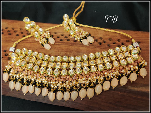 Premium Quality Kundan 3 Layer Peach Black Pearl Jhalar Partywear Choker Necklace Set