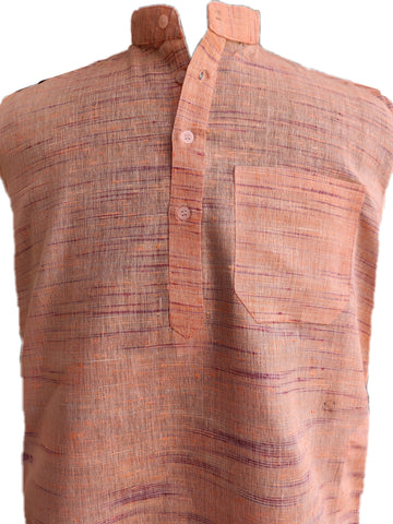 Khadi Silk Self Design Handloom Kurta - Peach