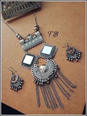 Oxidised Silver Square Mirror Chand Ghunghru Necklace + Earrings