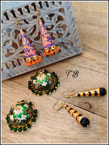 High Quality Meenakari Earrings S Combo 3