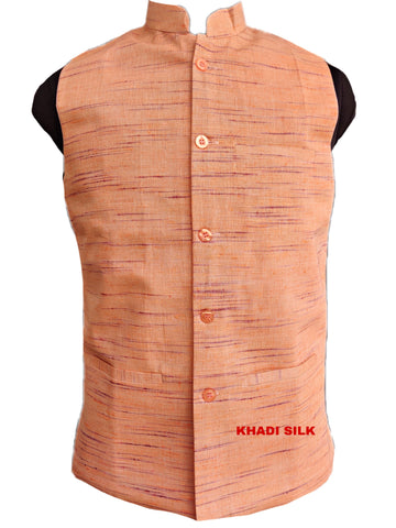 Khadi Silk Self Design Handloom Jacket - Saffron
