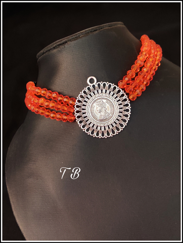 Orange Crystal Moti Oxidised Silver Choker Necklace