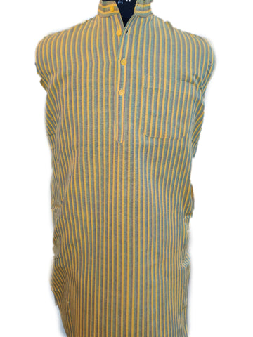 Handloom Cotton Kurta Vertical Stripes (Design 2) - Yellow