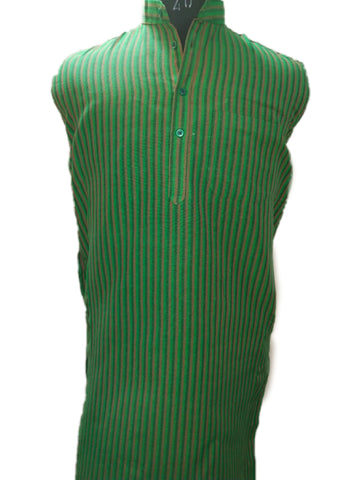 Handloom Cotton Kurta Vertical Stripes (Design 2) - Green