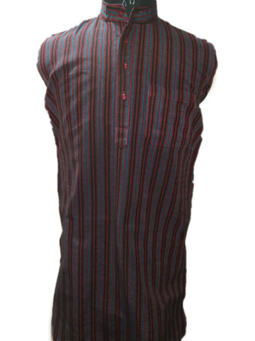 Handloom Cotton Kurta Vertical Stripes (Design 2) - Maroon