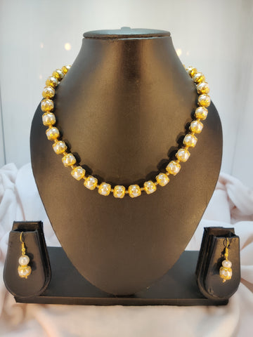 White Golden Ethnic Cap Mala