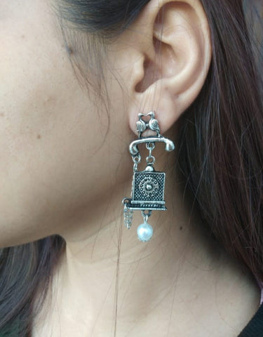 Landline  Oxidized Earrings (Free Shipping )
