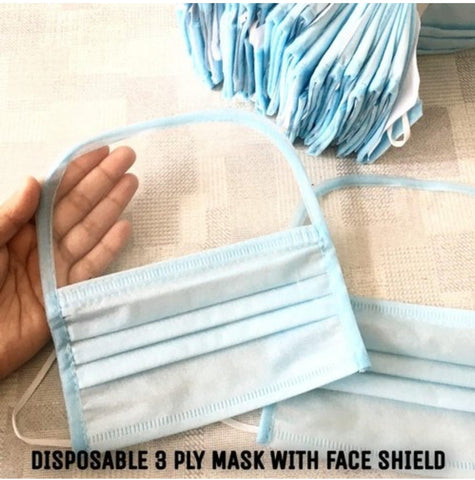 3 Ply Mask with Face Shield (10 Pc)