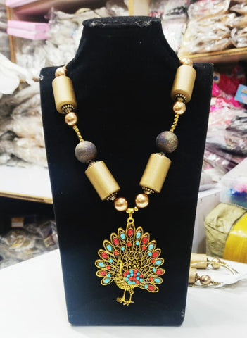 Golden Beads Peacock Pendent Necklace