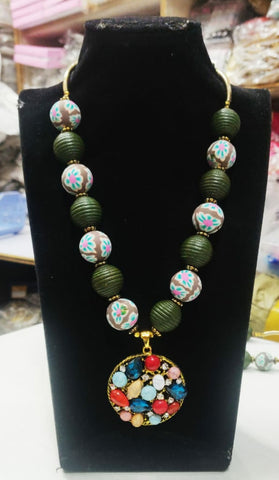 Multi Stone Green Balls Necklace