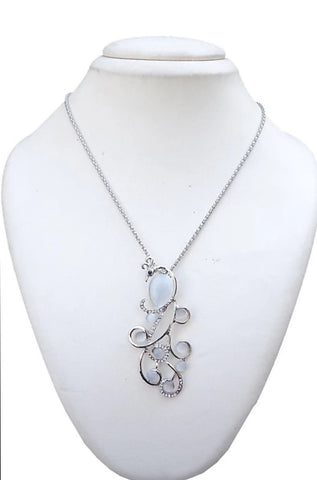 Peacock White Stone Zircon Silver Stylish Pendant Necklace