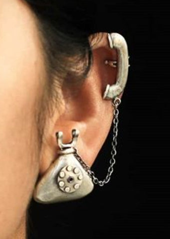 Premium Silver Replica Telephone Cuff Earrings