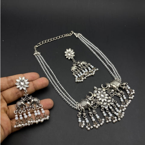 Oxidised Silver Moti Necklace set 91219