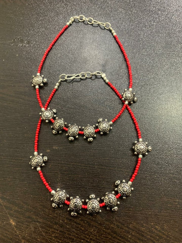 RED BEADS OXIDISED SILVER ANKLET PAYAL   PAIR Design 0001