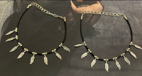 BLACK BEADS OXIDISED SILVER PAYAL ANKLET PAIR Design 0001