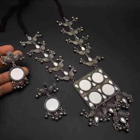 Premium Quality Anti Silver Replica 4 Mirror Necklace