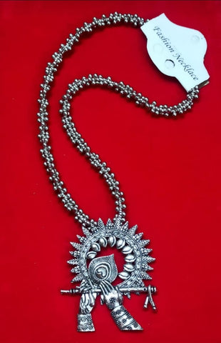 krishna New Oxidised Silver Necklace