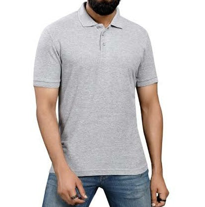 Half Sleeves Collar Plain Tshirt - Grey