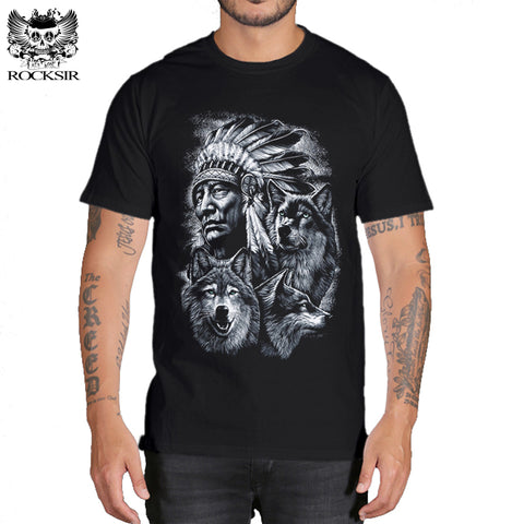 Rocksir 3d wolf t shirt mens Brand 3D Indians wolf Print t shirts Cotton wolves Men t-shirt Casual Man Tees Mens Tops-1