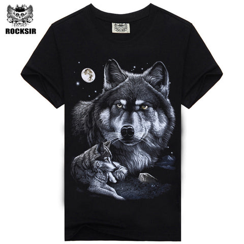 Rocksir 3d wolf t shirt mens Brand 3D Indians wolf Print t shirts Cotton wolves Men t-shirt Casual Man Tees Mens Tops-7
